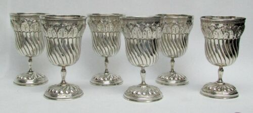 19th CENTURY (6) GERMAN  SILVER 5 1/2 INCH GOBLETS