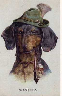 Used, Dachshund Boy w/Pipe L - MATTED Dog Art Print - German for sale  Tampa
