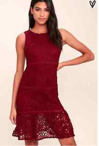 BRAND NEW RED LACE DRESS FOR SALE, WITH TAGS