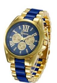 New Mens geneva Fashion Trendy Stainless Steel Band Watch Dodger Blue