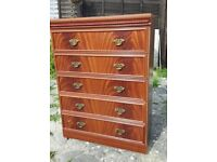 5 Drawer chest, Mahogany colour