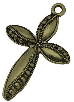 - 2 Cross Pendants Antiqued Bronze Religious Charms Christian Catholic Findings