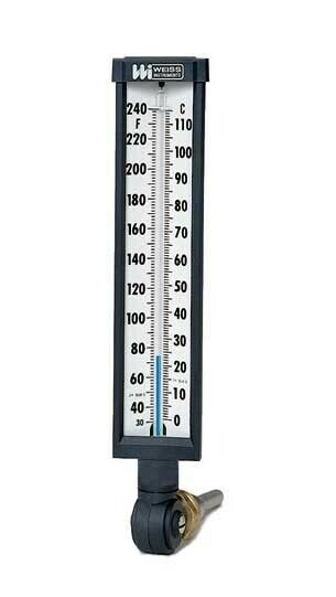 Weiss 9VU6-245 Vari-angle Industrial Glass Thermometer, 30 to 245°F