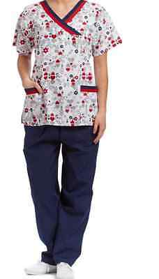 Navy Medical Scrubs (Medical Nursing Scrubs White & Navy Heart Surplice Top & Pants Size SMALL )