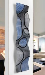 Contemporary Rains of Blue Wave Metal Wall Sculpture Decor  By Jon Allen
