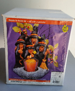 HALLOWEEN WITCH CANDLE HOLDER PAINT KIT CRAFT NEW