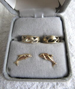 GOLD DOLPHIN STUD SET and GOLD DOLPHIN TOE RINGS