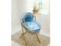 Come fly with me moses basket blue with opal Folding stand. Brand new 3 left only