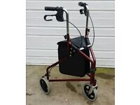 Three wheel walking aid wheeled tri Zimmer frame with brakes