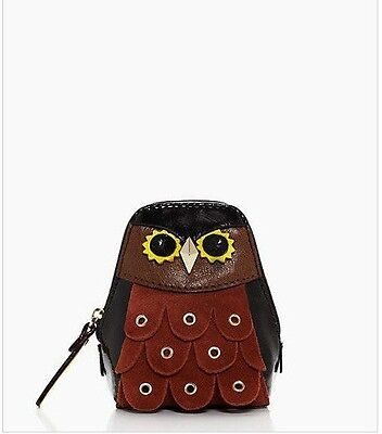 Kate Spade MAXIMILLIAN Owl Patent Leather Suede Coin Purse *NEW*