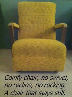 *used* gold colored fabric chair