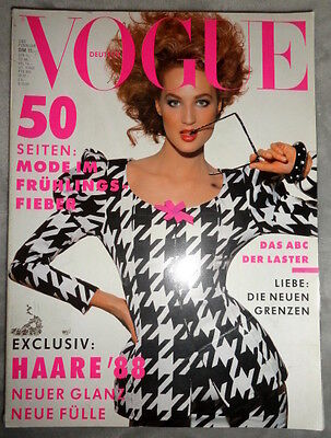 Vtg Vogue Deutsch 2/1988 Ashley Richardson Mickey Rourke Elaine Irwin Mellencamp