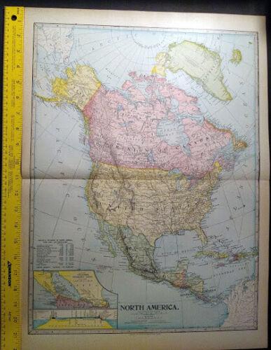 1904 North America Monarch Standard Atlas Map 16 inch x 22  Color M69