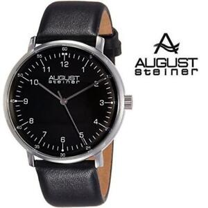 NEW AUGUST STEINER MEN'S WATCH AS8090BK 185231957 Black Dial Black Leather Strap JEWELRY JEWELLERY