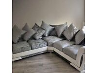BRAND NEW SHANNON WHITE AND SILVER CORNER OR 3+2 SEATER SOFA SET AVILABLE IN STOCK ORDER NOW