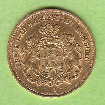 GOLD Hamburg 5 Mark 1877 fast vz selten nswleipzig