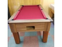 Walnut Square Leg Pool Table & Snooker Table (6x4 Slate Bed)