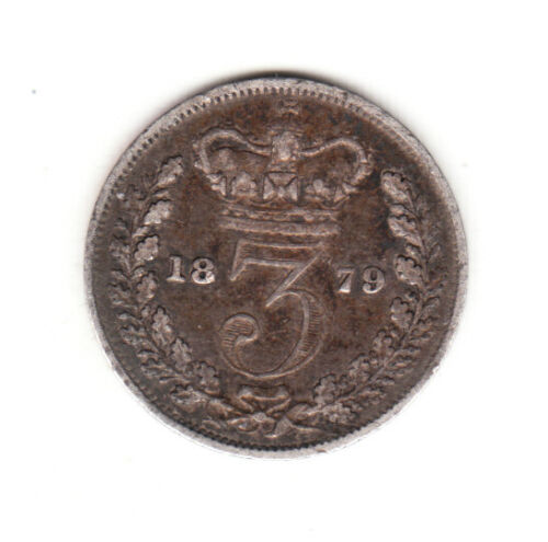 1879 Great Britain Queen Victoria Sterling Silver Threepence.