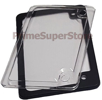 Black Metal Motorcycle License Plate Tag Frame Clear Cover Plastic Bug Protector Metal Plate Frame