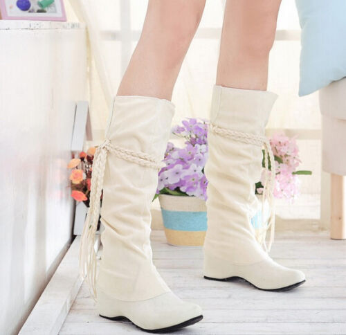 Ladies Womens New Fashion Faux Suede Slouchy Boho Fringe Mid Calf Boots Shoes @1