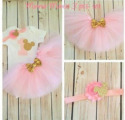 first birthday outfit ,Minnie Mouse outfit,Pink And Gold outfit,Handmade