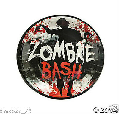 8 HALLOWEEN Paper Party ZOMBIE BASH Bloody Blood Splattered DINNER PLATES 9