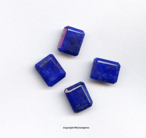 Semi Precious 10x8 MM Afgan Lapis Faceted Emerald cut AAA