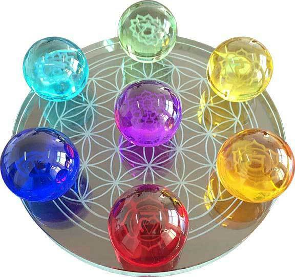 Set of 55mm 7 Chakras Crystal Balls with Flower of Life Stand Divination Healing