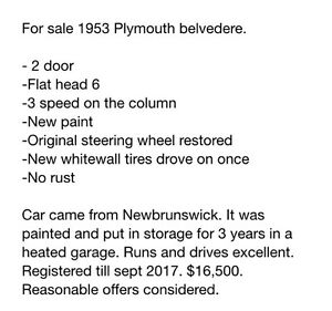 for sale 1953 Plymouth Belvedere