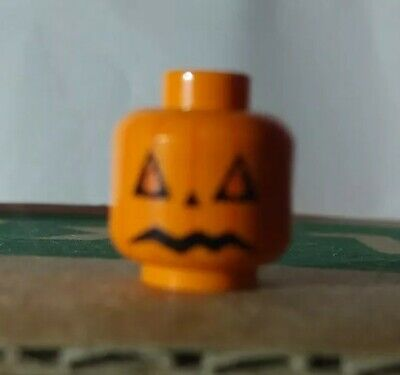 New LEGO Orange Minifigure Head with Green Pumpkin Leaves