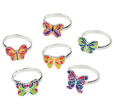 12 Butterfly Rings Metal Adjustable Girls Birthday PARTY Favors - Butterfly Party Favors