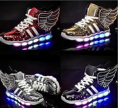 New Fashion Kids Wings Luminous LED Light up Sneakers Trainers Boys Girls Shoes