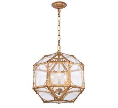 ** Elegant Lighting Gordon Collection 3-Light Golden Iron Finish Pendant NEW