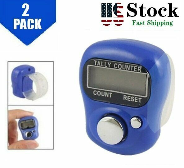 2 PACK  Digital Mini Finger Ring Tally Counter Knitting Row counter Clicker US
