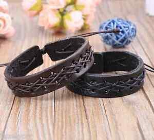 bracelet pour homme garcon ado en vrai cuir noir marron tendance fashion swag ebay. Black Bedroom Furniture Sets. Home Design Ideas