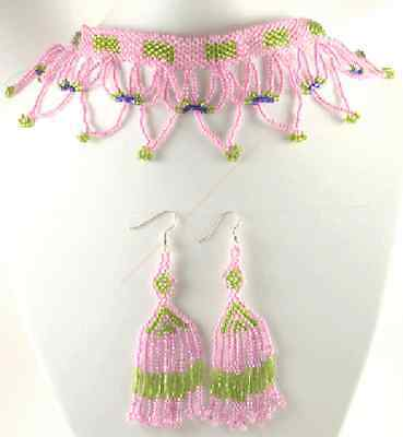 Pink Green Blue Beaded Native Style Inspired Necklace Earrings Set