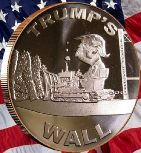Donald Trump 1 OZ .999 Fine Copper Rounds. TRUMPS WALL
