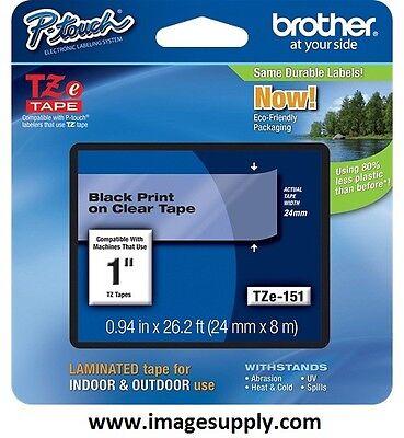 Genuine Brother Tze151 Tz-151 Tze-151 P-touch Label Tape 24mm Blkclr