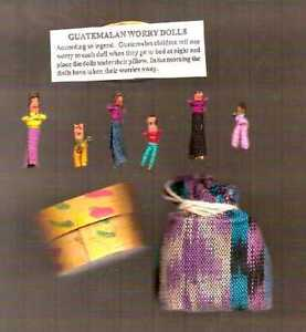 2 SETS/WORRY DOLLS FROM GUATEMALA/6 DOLLS WOVEN POUCH/6 DOLLS HANDMADE WOOD BOX