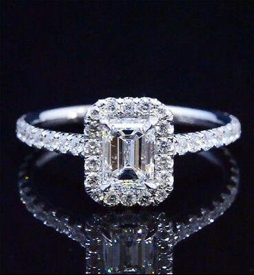 New 1.70 Ct Emerald Cut U-Setting Basket Diamond Halo Engagement Ring GIA E,VVS2