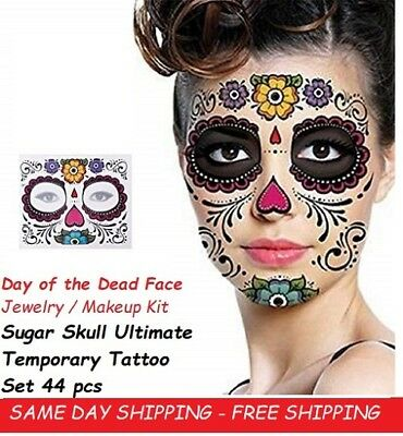 Day of the Dead Face Jewelry Makeup Kit Cosplay Dress Up Día de Muertos fnt 44pc