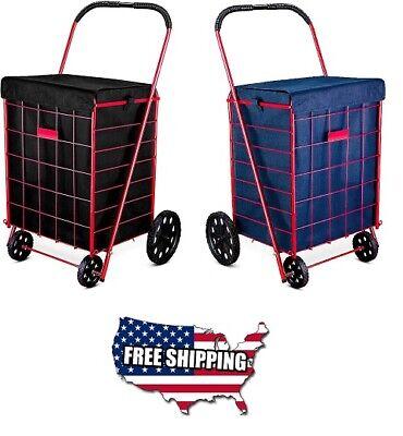 Best Folding Shopping Cart Liner Rolling Utility Trolley Wheels Basket Hood Bag