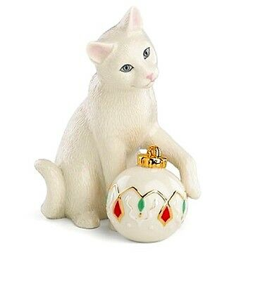 Lenox Kitty's Holiday Ornament Figurine Ivory China 24K NEW IN BOX