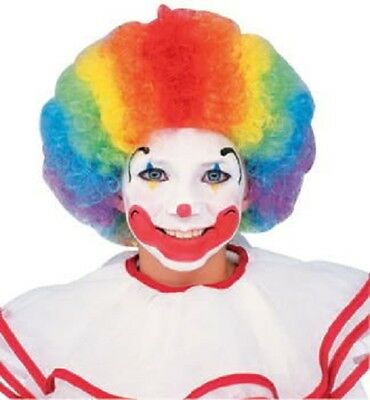 Clown Rainbow Wig (WIG CLOWN RAINBOW Multi-Colored Afro Curly Elastic Cap CHILD Size Washable)