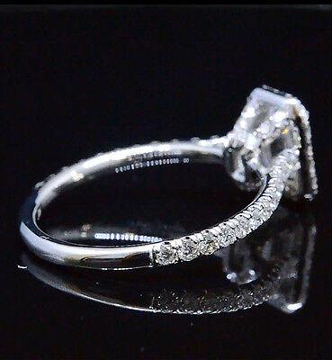 New 1.70 Ct Emerald Cut U-Setting Basket Diamond Halo Engagement Ring GIA E,VVS2 1