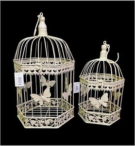 SET OF 2 BIRD CAGE WEDDING WISHING WELL ANTIQUE CREAM BUTTERFLY - Style 03