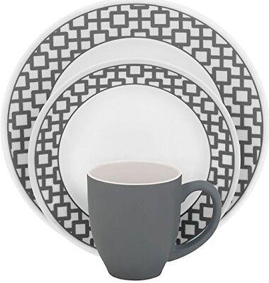 Corelle Impressions Urban Grid 16-Piece Dinnerware Set Service/ 4 NEW