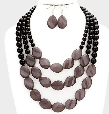 (Long Black Gray Acrylic Pearl Multi Strand Layered Bead Jewelry Necklace Set)