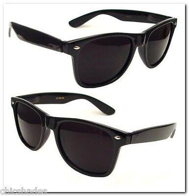 2 Pair 80's Soul Man Blues Brothers Wayfarer Super Dark Smoke Lens Sunglasses ()