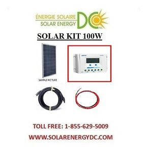 solar panel kit panneau solaire 100 watt 100w 30a poly lcd charger cable rv. Black Bedroom Furniture Sets. Home Design Ideas